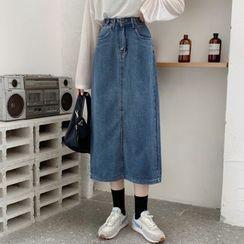 FUNJUAN - Denim Midi Skirt
