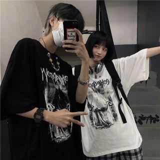 Porstina - Couple Matching Short-Sleeve Round Neck Print T-Shirt