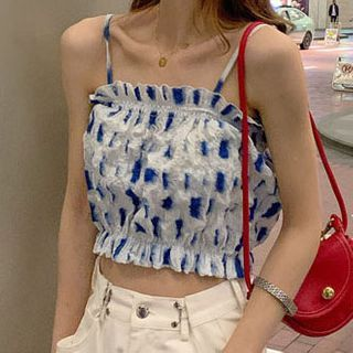 Girl Gang - Spaghetti Strap Patterned Crop Top / Plain Straight-Fit Pants