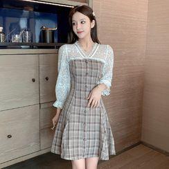 Petit Lace - Long-Sleeve Lace-Panel Check Dress