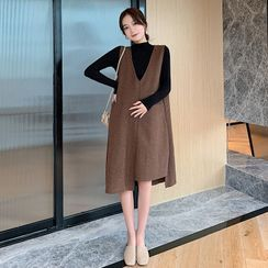 Clover Dream(クローバードリーム) - Maternity Knit Top / A-Line Ribbed Pinafore Dress / Set