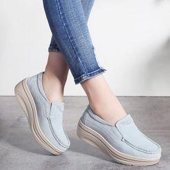 MINIKA - 純色厚底內增高高底輕便鞋