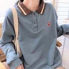Mushini - 双色宽松长袖印花马球衫