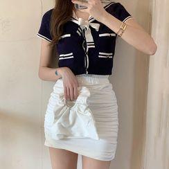 Ashlee - 水手领短袖短款针织上衣 / 皱褶迷你铅笔裙裤