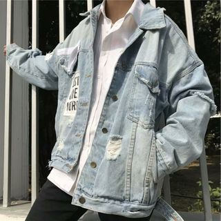 Wescosso - Lettering Ripped Denim Jacket