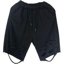 Banash - 破洞及膝短裤