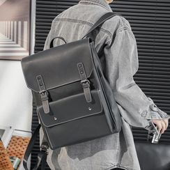 ETONWEAG - Plain Faux Leather Laptop Backpack