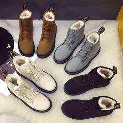 Shanhoo - 厚底繫帶短靴