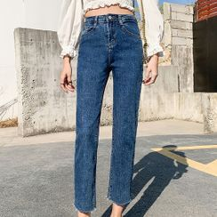 Korenina - Crop Straight Leg Jeans (Various Designs)