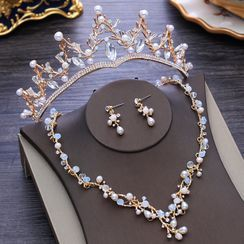 la Himi - 套装: 婚礼仿珍珠皇冠 + 项链 + 耳坠