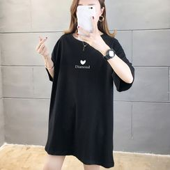 Lovesight  - Heart Print Oversize Elbow-Sleeve T-Shirt
