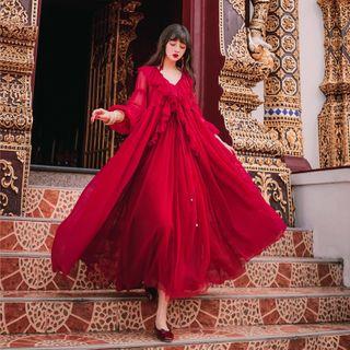 OOMOKU - 套装: 长袖雪纺连衣长裙 + 幼肩带连衣裙