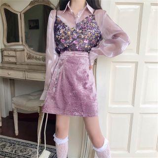 NENE - Long-Sleeve Iridescent Shirt / Sequin Tank Top / Mini A-Line Velvet Skirt
