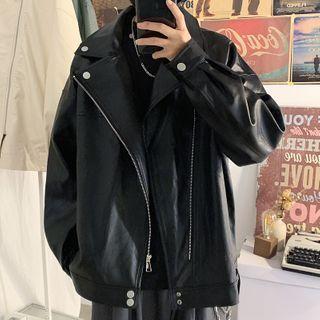 Bay Go Mall - Faux Leather Biker Jacket