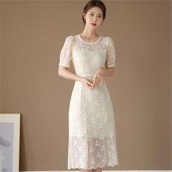 CHICLINE - Puff-Sleeve Lace-Overlay Dress