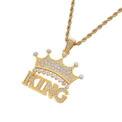 Bilibala - Rhinestone King & Crown Pendant Necklace