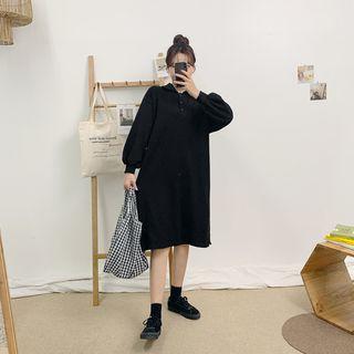 HOTPING - Balloon-Sleeve Slit-Side Polo Shirt Dress