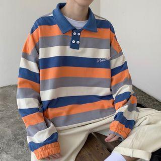 YERGO - Striped Polo Sweatshirt