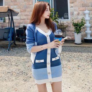 Themis - 套装: 细肩带条纹迷你针织连衣裙 + 开衫