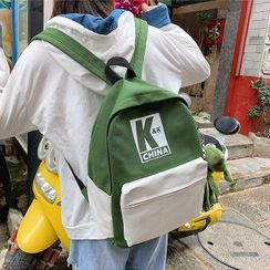 OUCHA(ウーチャ) - Color Block Canvas Backpack