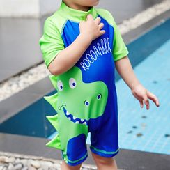 Aqua Wave - Kids Dinosaur Print Short-Sleeve Rashguard  / Swim Goggles / Ear Plugs / Nose Clip / Drawstring Organizer Bag / Swim Cap / Set