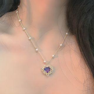 Studio Nana - Rhinestone Heart Faux Pearl Necklace