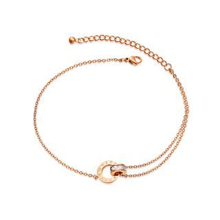 BELEC - Simple Plated Rose Gold Roman Numeral Geometric Double Round Cubic Zirconia 316L Stainless Steel Anklet