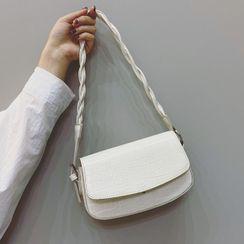 Mercillia - Crocodile Grain Flap Crossbody Bag