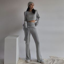 Colada - Set: Long-Sleeve Crop T-Shirt + Tie-Waist Boot-Cut Cotton Pants