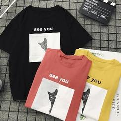 XGZ - Camiseta de manga corta con estampado de gato