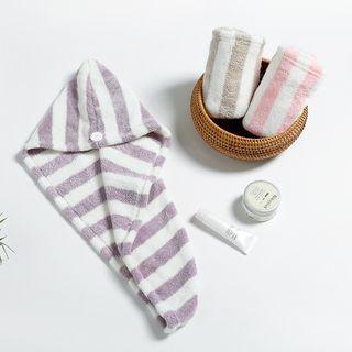 Soldana - Striped Coral Fleece Hair Drying Towel