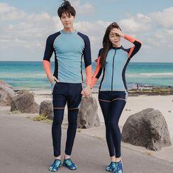 Salanghae - Couple Matching Long Sleeve Color Block Rashguard / Bra Top / Swim Bottom / Beach Shorts / Set