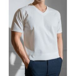 STYLEMAN - V-Neck Textured T-Shirt
