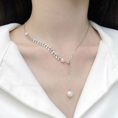 FOON - 925 Sterling Silver Faux Pearl Pendant Necklace