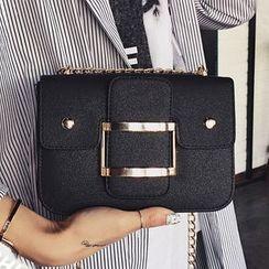 Clair Fashion - 韓版簡約金屬皮帶扣單肩側背包