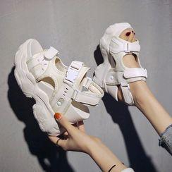 Sleeko - 厚底魔術貼涼鞋