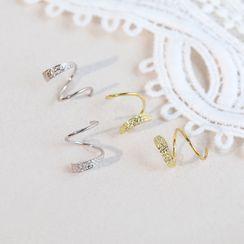 Blinglitz - 925 Sterling Silver Spiral Earring