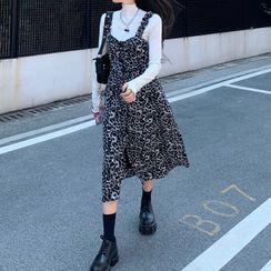 Guajillo - Long-Sleeve T-Shirt / Leopard Print Midi A-Line Pinafore Dress