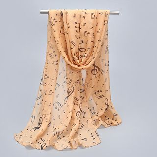 Eva Fashion - 音符印花雪紡圍巾