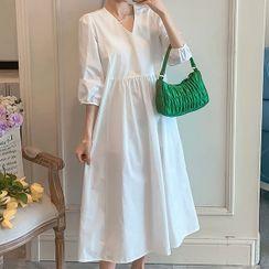 HUNNY - Maternity Puff-Sleeve A-Line Dress