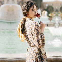 伊之戀 - 印花長袖直筒連衣中裙