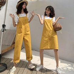 Tonni's - Straight-Leg Dungaree Pants / A-Line Mini Pinafore Dress