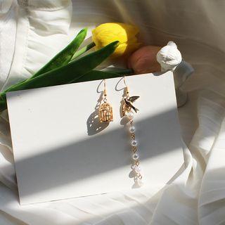 Kokyu - Birdcage Faux Pearl Asymmetrical Drop Earring