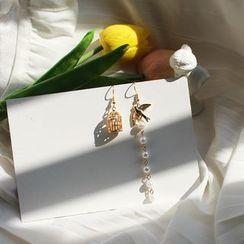 Kokyu - Birdcage Faux-Pearl Asymmetric Drop Earring