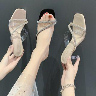 clog & wings - Kitten-Heel Rhinestone Sandals