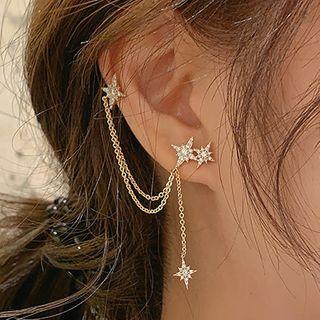Catalunya - Non-matching Rhinestone Star Chained Earring