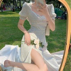 Flowerisque - Floral Print Puff-Sleeve Slit Midi A-Line Dress / Rib Knit Cardigan