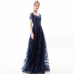 Sennyo - Embroidered Mesh Panel Sequined A-Line Evening Gown