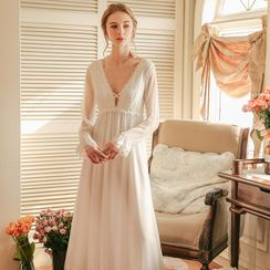 Furana - Lace Trim Bell-Sleeve Midi A-Line Sleep Dress