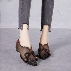 LARKSPUR - Genuine Leather Block Heel Pumps